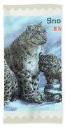 Postage Stamp - Snow Leopard By Kaye Menner Bath Towel