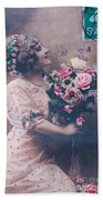 Postcard Girl With A Bouquet Hand Towel