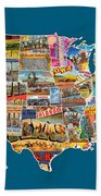 Postcards Of The United States Vintage Usa All 50 States Map Bath Towel