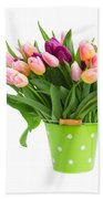 Pot Of Pink And Violet Tulips Bath Towel