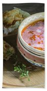 Pot Of Ukrainian Borsch Bath Towel