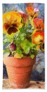Potted Pansy Pencil Bath Towel