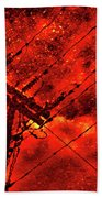 Power Line - Asphalt - Water Puddle Abstract Reflection 02 Bath Towel