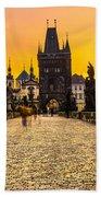 Prague - Charles Bridge - Czech Republic Bath Towel