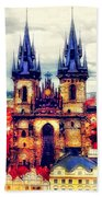 Prague Church Of Our Lady Before Tyn Watercolor Bath Towel