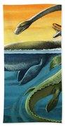 Prehistoric Creatures In The Ocean Bath Towel