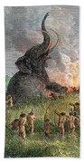 Prehistoric Mammoth Hunt Bath Towel