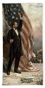 President Abraham Lincoln - American Flag Hand Towel