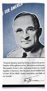 President Truman Speaking For America Bath Towel