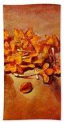 Pretty Little Orange Flowers - Kankaambaram Bath Towel