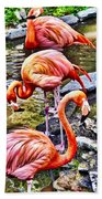 Pretty Pink Flamingos Bath Towel