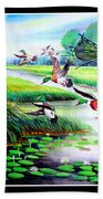 Artistic Painting Photo Flying Bird Handmade Painted Village Art Photo Bath Towel