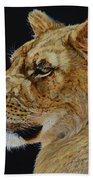 Profile Of A Lioness Bath Towel