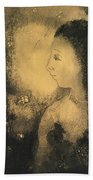 Profile Of A Woman With Flowers Bath Towel