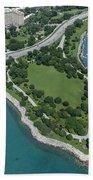 Promontory Point In Burnham Park In Chicago Aerial Photo Bath Towel