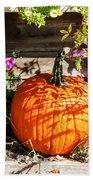 Pumpkin And Flowers Bath Towel