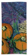 Pumpkins And Wheat Hand Towel by Erin Fickert-Rowland
