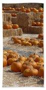 Pumpkins On Bales Bath Towel