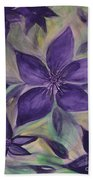 Purple Clematis Abstract Bath Towel