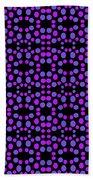 Purple Dots Pattern On Black Bath Sheet