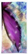Purple Flower Watercolor Doodle Bath Towel