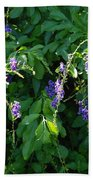 Purple Hanging Flowers Bath Towel