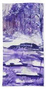 Purple Ice On Kaaterskill Creek Bath Towel