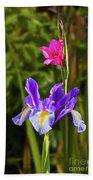 Purple Iris And Gladioli Byzantinus Bath Towel