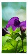 Purple Petunia On A Cool Spring Day Bath Towel