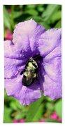 Purple Petunia With A Bee Bath Towel
