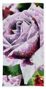 Purple Rose Painting Bath Towel