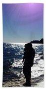 Purple Sun Evening Beach Bath Towel