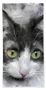 A Cat With Green Eyes Bath Towel