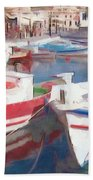Quay On The Island Of Crete Bath Towel