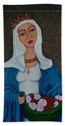 Queen St Isabel - The Miracle Of The Roses Bath Towel