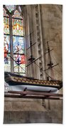Quelven Church, Brittany, France, Ship Bath Towel
