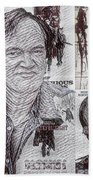 Quentin Tarantino Poster Drawing Bath Towel