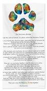 Rainbow Bridge Poem With Colorful Paw Print By Sharon Cummings Hand Towel