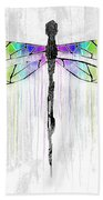 Abstract Dragonfly - White Rainbow Bath Towel