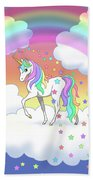 Rainbow Unicorn Clouds And Stars Bath Sheet by Crista Forest