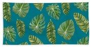 Rainforest Resort - Tropical Leaves Elephant's Ear Philodendron Banana Leaf Bath Towel