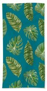 Rainforest Resort - Tropical Leaves Elephant's Ear Philodendron Banana Leaf Bath Towel