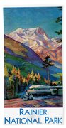 Rainier National Park Vintage Poster Restored Bath Towel
