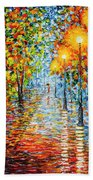 Rainy Autumn Evening In The Park Acrylic Palette Knife Painting Hand Towel