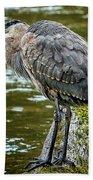 Rainy Day Heron Bath Towel by Belinda Greb