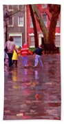 Rainy Day Rainbow - Children At Independence Square Bath Towel