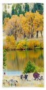 Ranch Pond In Autumn Bath Towel