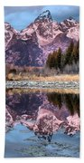 Grand Teton Snow Capped Reflections Bath Towel