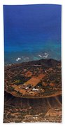 Rare Aerial View Of Extinct Volcanic Crater In Hawaii.  Bath Towel