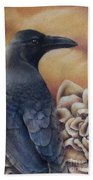Raven And Roses Bath Towel